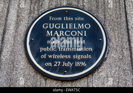A plaque in Newgate Street, London marking the location where Guglielmo Marconi made the first public transmission - Stock Photo