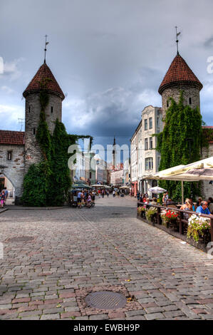 Estonia Tallinn Old Town Viru Gate - Stock Photo