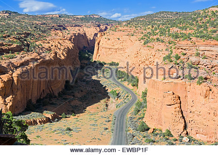 Road winding up canyon, Grand Staircase Escalante National Monument,Utah, USA, North America - Stock Photo