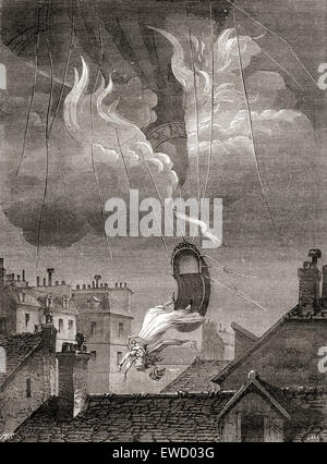 The death of Sophie Blanchard, aka Madame Blanchard, 1778 – 1819.  French aeronaut and the wife of ballooning pioneer - Stock Photo