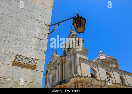 St. Peter and Paul Cathedral, Mdina, Malta - Stock Photo