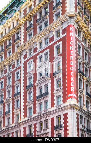 NEW YORK CITY - MARCH 23, 2015: View of historic Knickerbocker Hotel in Times Square Manhattan. - Stock Photo