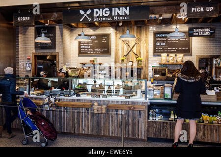 New York City NY NYC Manhattan Lower Battery Park City Brookfield Place shopping center centre inside food court - Stock Photo