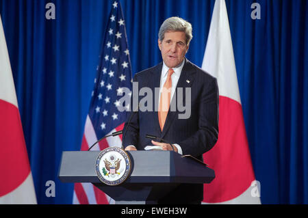 U.S. Secretary of State John Kerry addresses reporters during a news conference after he and U.S. Defense Secretary - Stock Photo