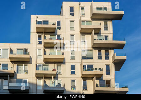 Modern rental apartments (Stævnen) in Copenhagen, development area of Ørestad, Copenhagen, Denmark, - Stock Photo