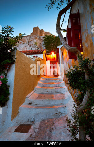 Acropolis as seen from the streets of Anafiotika, Athens, Greece - Stock Photo