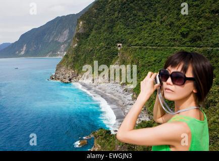 A view of the coast along Su-hua Highway, along the Huide Trail, near Taroko Gorge. Taiwan. Asia. - Stock Photo