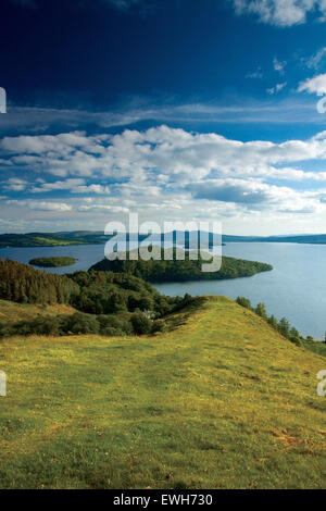 Loch Lomond and Inchcailloch from Druim nam Buaraich, Loch Lomond and the Trossachs National Park - Stock Photo