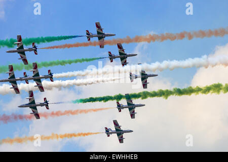 Italian demonstration team Frecce Tricolori performing at the Dutch Air Force Open Day. - Stock Photo