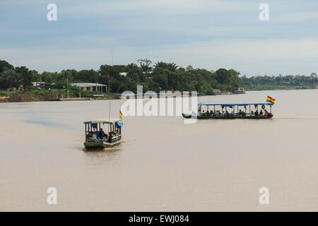 Rurrenabaque, Bolivia - MAY 12: wooden boats in Beni River on May 12, 2015 in Beni Region, Bolivia. The rivers are - Stock Photo