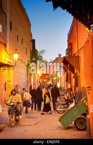 Streets of Marrakech Medina, Morocco, Africa - Stock Photo