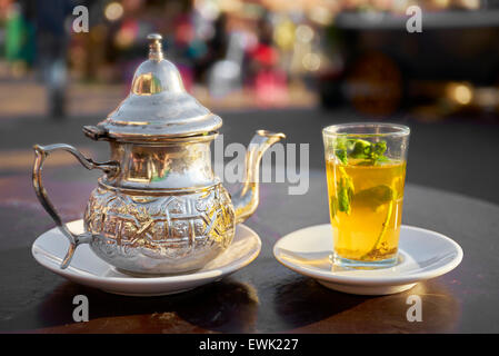 Moroccan tea served in Djemaa el-Fna Square, Marrakesh, Morocco, Africa - Stock Photo