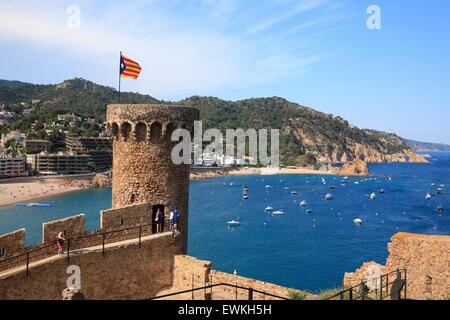 Tossa de Mar,  tower of  old town Costa Brava, Catalona, Spain, Europe - Stock Photo