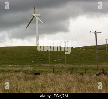 Wind Turbine with Broken Blade - Stock Photo