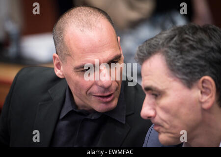 Greek Finance Minister Yanis Varoufakis prior to the Eurogroup, finance ministers of the single currency EURO zone - Stock Photo