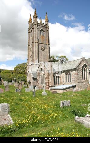 St. Pancras church  Widecombe in the Moor Dartmoor  Devon England UK - Stock Photo