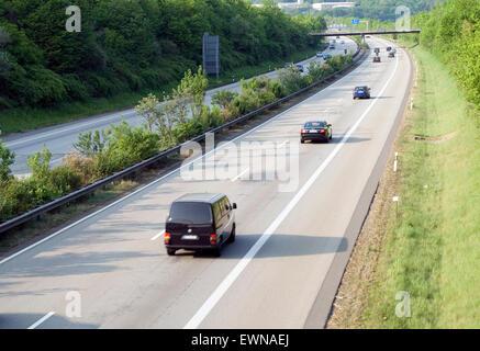 German Freeway A61 Eifel Rhineland-Palatinate Germany Europe - Stock Photo
