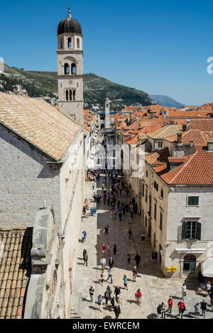 placa stradun and franciscan monastery from wall of old city of dubrovnik, croatia - Stock Photo