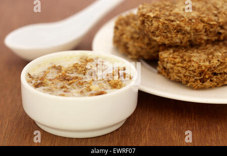 Close up of cookies made from oats in milk - Stock Photo
