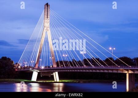 Swietokrzyski Bridge evening time - Warsaw, Poland - Stock Photo