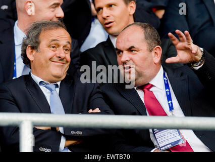 Prague, Czech Republic. 30th June, 2015. President of the Union of European Football Associations (UEFA) Michel - Stock Photo