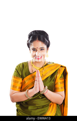 1 indian Marathi woman Joined Hands Welcome - Stock Photo