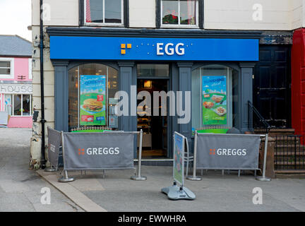 Imaginative vandalism of branch of Greggs the bakers, England UK - Stock Photo