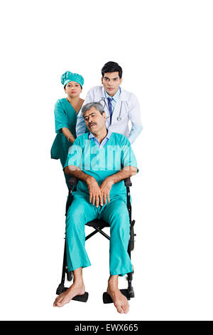 indian Doctor Patient Wheelchair Emergency - Stock Photo