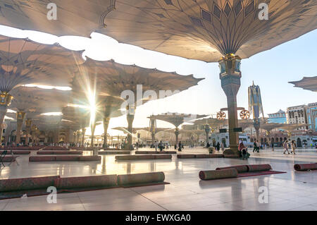 MEDINA - MARCH 06 : Mat rolls for cleaning at Nabawi Mosque compound on March 06, 2015 in Medina, Kingdom of Saudi - Stock Photo