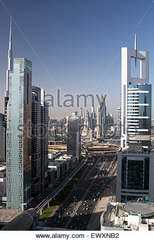 Dubai, United Arab Emirates. 05th May, 2014. Skyscrapers line either side of Skeikh Zayed Road in Dubai. The world's - Stock Photo