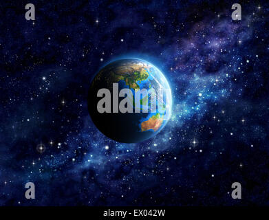 Imaginary view of planet Earth into deep space, focused on Asia and Australia. Elements of this image furnished - Stock Photo