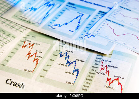 Charts show falling share prices as a symbol for a crash in the stock market. - Stock Photo