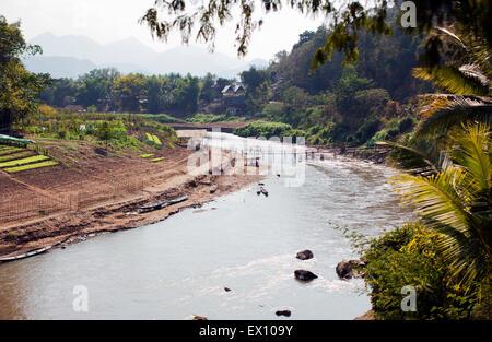 The Nam Khan River, Luang Prabang, Laos - Stock Photo