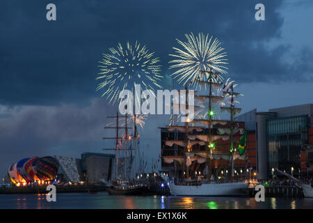 Belfast, UK. 4th July 2015. Prior to the Grand departure of the Tall Ships on Sunday 5th a Spectacular 10 minute - Stock Photo