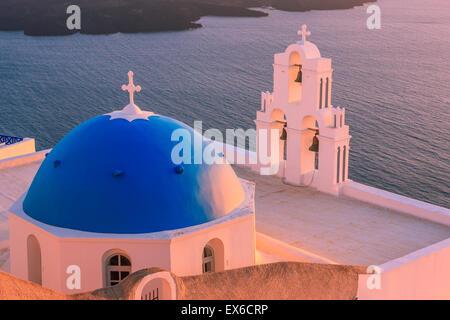 Aghioi Theodoroi church at Firostefani on Santorini one of  Cyclades islands in Aegean Sea, Greece. - Stock Photo