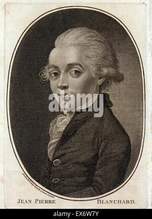 Portrait of Jean Pierre Blanchard (1754-1809) French inventor, best known as a pioneer in balloon flight. Dated - Stock Photo