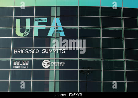 The Congress Hall in Ufa (Russia) is the main site where BRICS/SCO SUNMMIT is taking place. The summit has started - Stock Photo