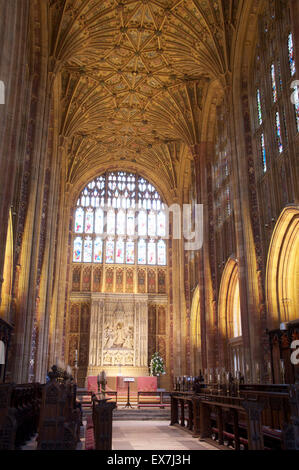The magnificent medieval interior of Sherborne Abbey looking towards the High Altar and the Great East Window. Dorset, - Stock Photo