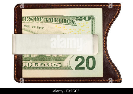 Dollars in brown leather money clip. Isolated on white background, saved with clipping path. - Stock Photo