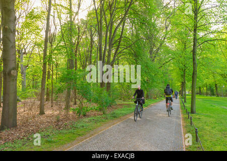 Berlin cycling park, cyclists in spring ride their bikes on one of the extensive cycle paths in the Tiergarten park, - Stock Photo