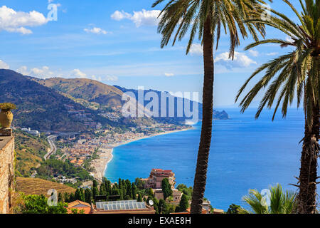 High view of Letojanni village and beach on the Cape Taormina, Messina District, Sicily, Italy - Stock Photo