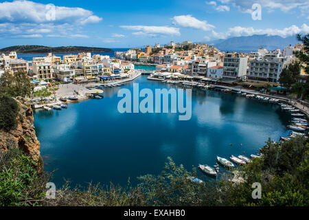 View over Lake Voulismeni, Agios Nikolaos, Crete, Greek Islands, Greece, Europe - Stock Photo