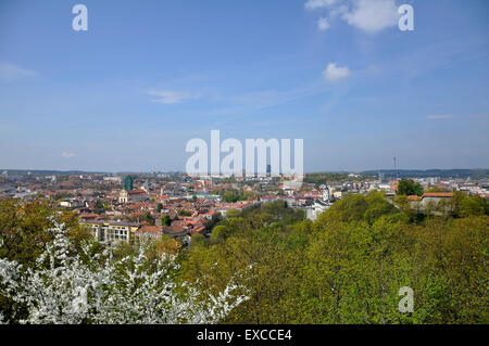 View on the Vilnius Old Town from the Hill of Three Crosses - Stock Photo