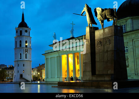 The Cathedral of Vilnius and Grand Duke Gediminas monument at night. - Stock Photo