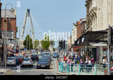 Pictures around Southport   Pictured  Lord Street with the Marine Way Bridge behind    Southport is a large seaside - Stock Photo