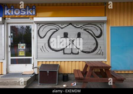bunny graffiti on kiosk window shutter, Finland - Stock Photo