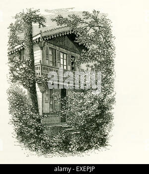 In 1864, the actor Charles Fechter gave Charles Dickens a pre-fabricated two-story Swiss chalet house that Dickens - Stock Photo