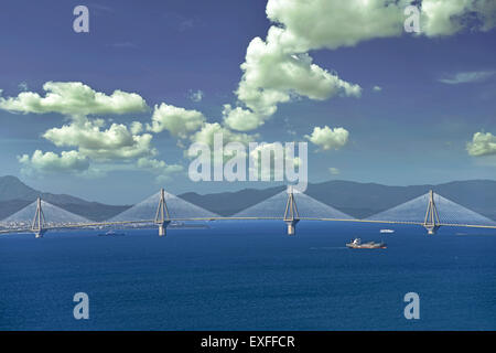 Rio–Antirrio bridge is the world's longest of the fully suspended type, linking the Peloponnese to the mainland - Stock Photo