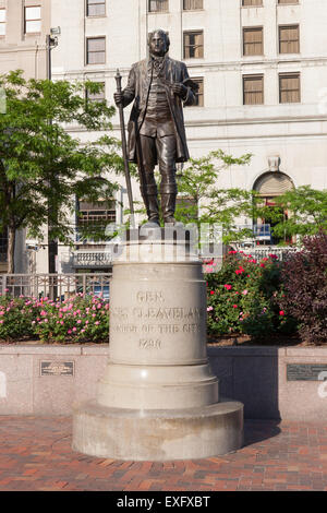 The statue of Moses Cleaveland in Public Square in downtown Cleveland, Ohio - Stock Photo