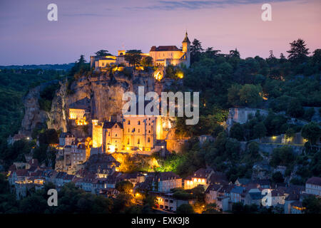 Twilight view over Medieval town of Rocamadour, Lot Department, Midi-Pyrenees, France - Stock Photo